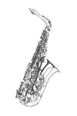 Saxophone -  Alto saxophone classical instrument Sketch Stock Photo