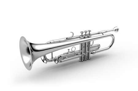 cornet: Trumpet classical instrument isolated on white, 3D illustration Black & White Image