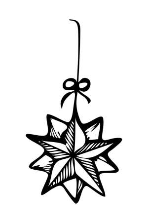 star ornament: Christmas ornament star, style in black and white for coloring book