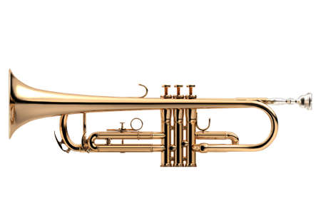 cornet: Trumpet - Golden trumpet classical instrument isolated on white, 3D illustration Stock Photo