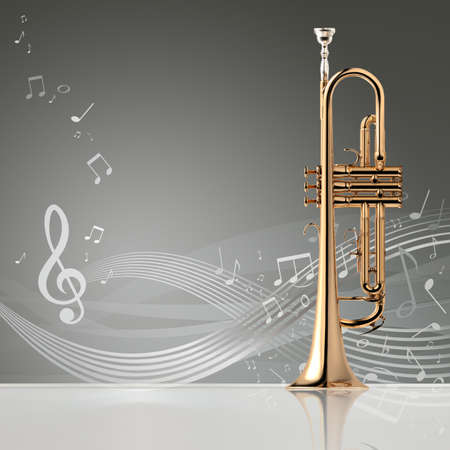 cornet: Trumpet - Golden trumpet classical instrument banner, 3D illustration Stock Photo
