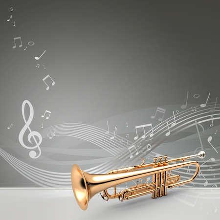 fanfare: Trumpet - Golden trumpet classical instrument banner, 3D illustration Stock Photo