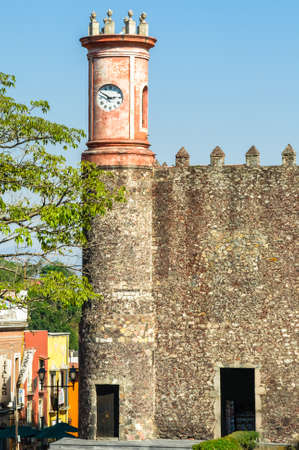 CUERNAVACA  MEXICO - JANUARY 22 2017:The Palace of Cortes in Cuernavaca, Mexico, built in 1526, the oldest conserved colonial structure in the continental Americas Editorial