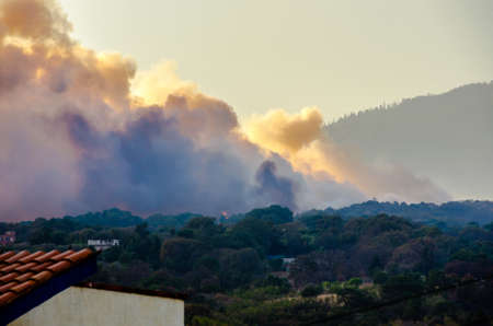 CUERNAVACA  MEXICO - MARCH 22 2017: Forest fire intensified by the winds covers wide region of the State of Mexico and Morelos. Col. del Bosque, Cuernavaca, Morelos, Mexico.