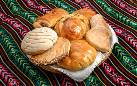 Sweet bread assorted traditional Mexican bakery 版權商用圖片