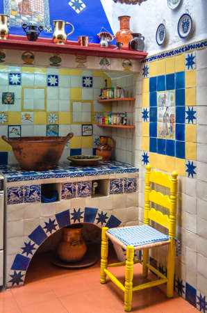 Vintage tile kitchen with clay kitchenware used in Latin America