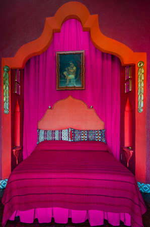 Vintage red and pink bedroom interior