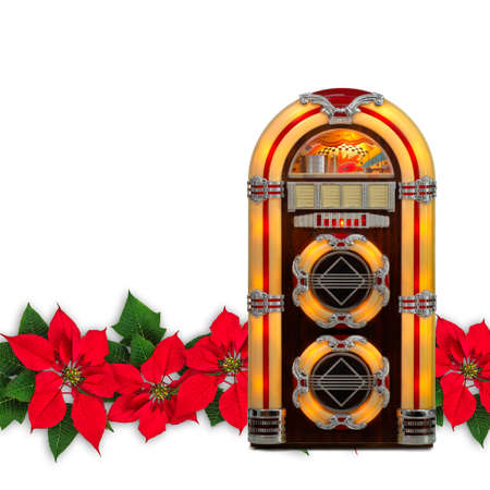Retro juke box radio with Red Poinsettia flower Christmas ornament, isolated on white background