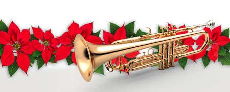 赤いポインセチアの花のクリスマスの飾り付けトランペット 写真素材