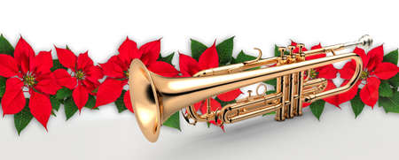 Trumpet with Red Poinsettia flower christmas ornament Фото со стока
