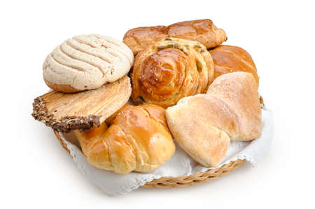 Sweet bread assorted traditional Mexican bakery isolated on white background Banco de Imagens