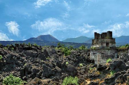 San Juan Parangaricutiro, small village near the Parícutin volcano in Michoacan, Mexico. Destroyed during the formation of the Parícutin volcano in 1943