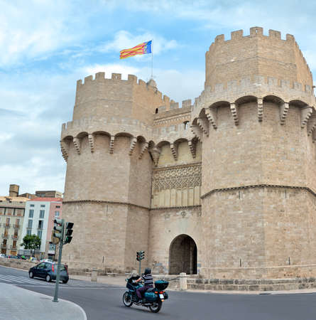 Valencia, Spain - June 8, 2018: Serranos Towers old medieval gate in Valencia, Spain. Editöryel