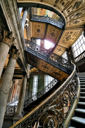 Mexico City, Mexico - March 10, 2019: Interior of Museo Nacional de Arte (MUNAL) old Palace of Communications in Mexico City. Editöryel