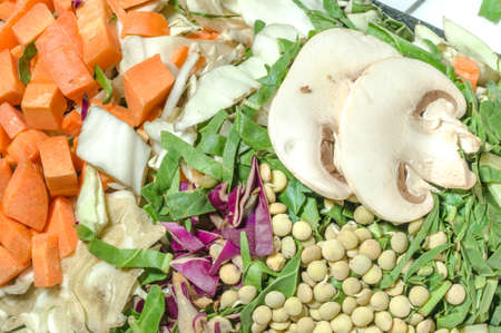 Various chopped vegetables, carrot, cabbage, lettuce, lentils, mushroom. Top view Stok Fotoğraf