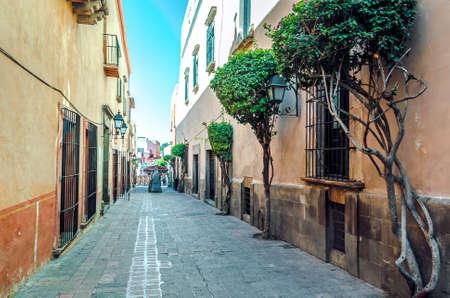 Old town street in the historic center of Querétaro, Mexico