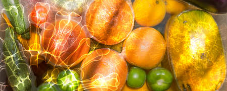 Fruit and vegetables washing in soapy water for coronavirus disinfection. Imagens