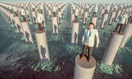 Surreal scene of isolated people in a sea with columns with no possibility of interacting or escaping. 3d illustration Фото со стока