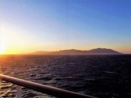 Sunset in Aegean sea Banco de Imagens