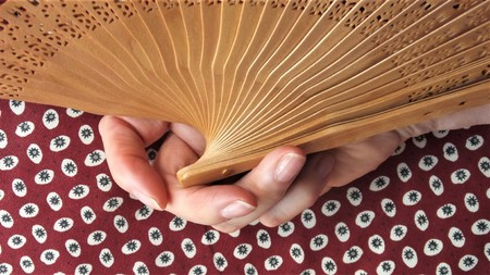 Female hand using a fanning