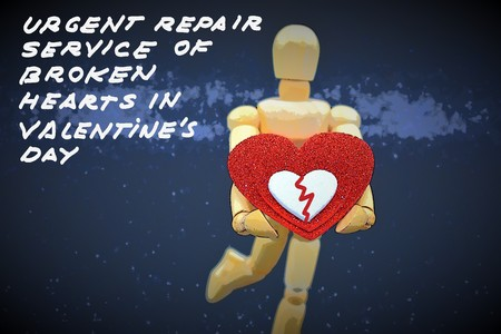 Urgent repair service of broken hearts in Valentines day Фото со стока