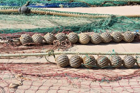 Detail of nets used for traditional fishing diying in the sun