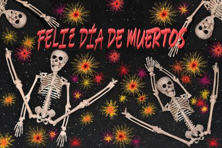 Image of congratulation for Death Day in which several skeletons dance among abstract flowers. In the text it says: happy death day
