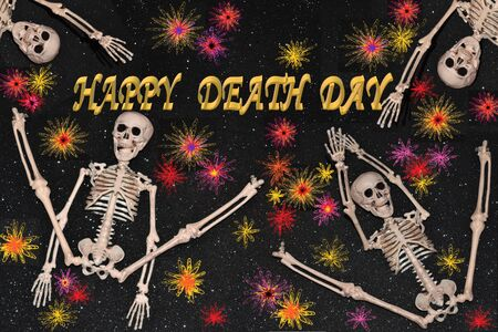 Image of congratulation for Death Day in which several skeletons dance among abstract flowers Stock fotó