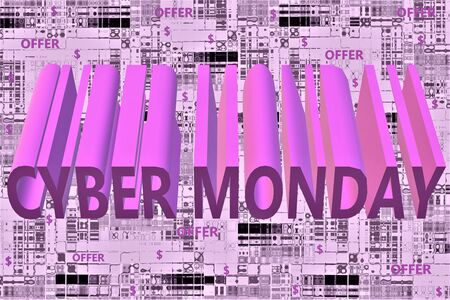 Cyber monday sale text over purple color abstract background