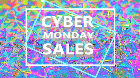 Cyber monday sale text over multicolored abstract background