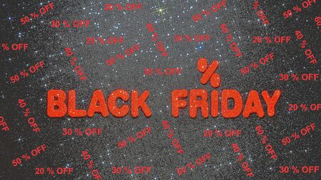 Black friday sale text and percentages in red on dark starry background