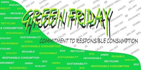 Green Friday label (in reference to responsible consumption) that replaces the usual Black Friday label on a white and green background