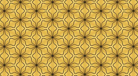 Mesh image computer generated with black wavy lines stamping which mimics the aesthetics of art deco style on a golden background