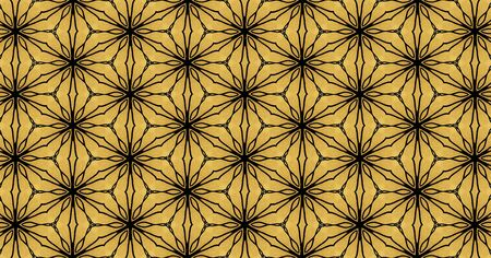 Mesh image computer generated with black lines stamping which mimics the aesthetics of gothic style on a golden background