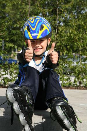 Roller young boy - training. 版權商用圖片 - 3680384