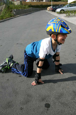 Roller young boy - training.