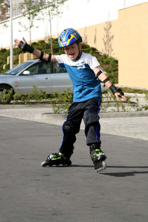 Roller young boy - training. photo