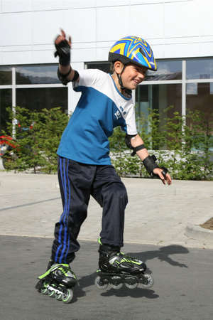 Roller young boy - during training. photo