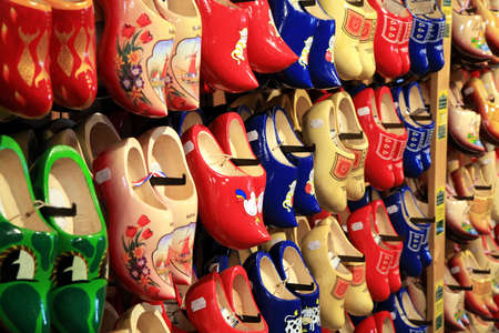 typical: Typical Dutch shoes -wooden clogs - Netherlands.