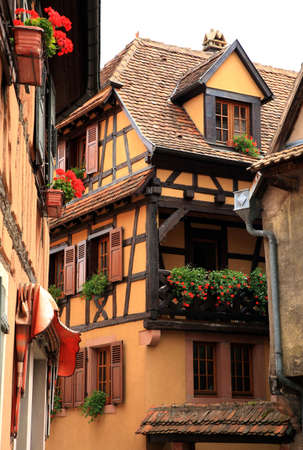 Typical colored houses in Alsace. Route des vines – France. Half-timbered wall.