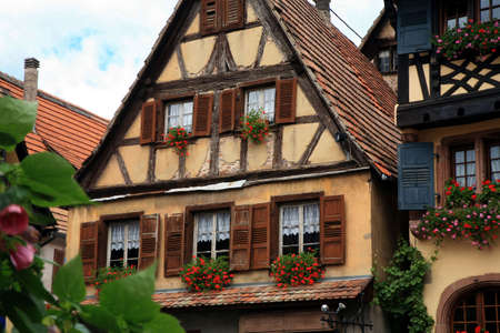 Typical colored houses in Alsace. Route des vines – France. Half-timbered wall. Stock Photo - 3712123