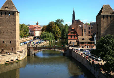 View on Ponts Couverts in Strasbourg's Old Town – France 版權商用圖片