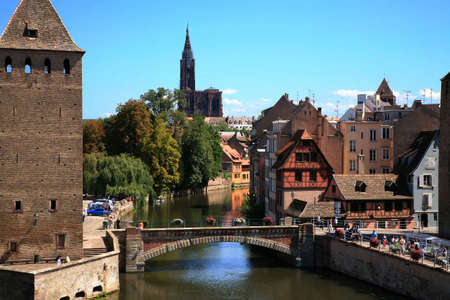 alsace: View on Ponts Couverts in Strasbourg�s Old Town � France