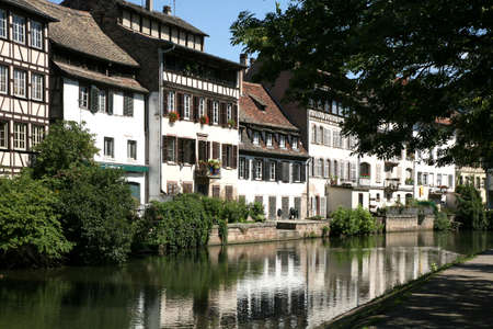 Picturesque Old Town at canal in Strasbourg - France. Petite France. photo