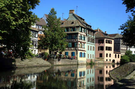 Picturesque Old Town at canal in Strasbourg - France. Petite France.