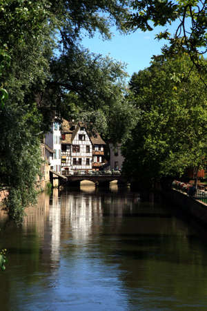 Old Town at canal in Strasbourg - France. Petite France. photo
