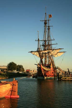 shipper: Batavia – historic galleon from Netherlands by sunset. Old ship. Lelystad, Flevoland.