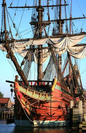 Batavia – historic galleon from Netherlands by sunset. Old ship. Lelystad, Flevoland.