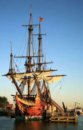 Batavia – historic galleon from Netherlands by sunset. Old ship. Lelystad, Flevoland.