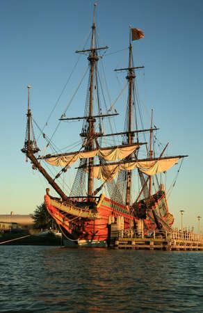 lelystad: Batavia – historic galleon from Netherlands by sunset. Old ship. Lelystad, Flevoland.